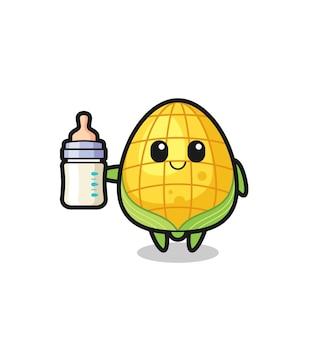 Postać z kreskówki dla niemowląt kukurydza z butelką mleka, ładny styl na koszulkę, naklejkę, element logo