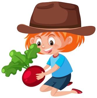 Postać z kreskówki dzieci trzymając owoce lub warzywa na białym tle