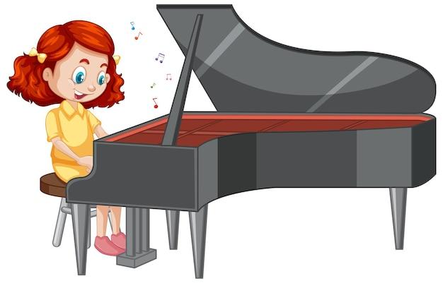 Postać z kreskówki dziewczyna grająca na pianinie
