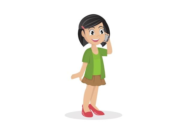 Postać z kreskówki, dziewczyna na smartphone