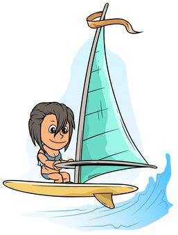 Postać z kreskówki dziewczyna na żółty deska windsurfingowa