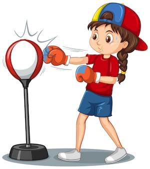 Postać z kreskówki dziewczyna robi ćwiczenia bokserskie