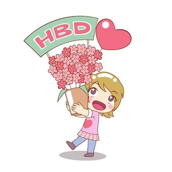 Postać z kreskówki dziewczyna trzyma bukiet kwiatów na urodziny.