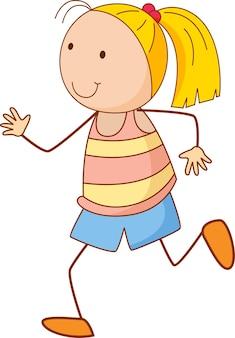 Postać z kreskówki dziewczyna w stylu doodle na białym tle
