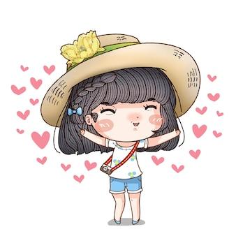 Postać z kreskówki dziewczyna z szczęśliwą twarzą