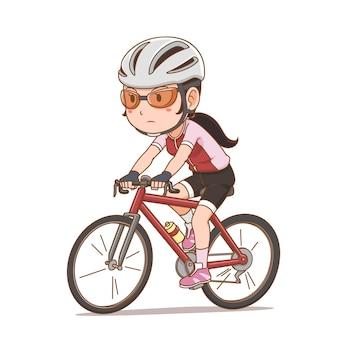 Postać z kreskówki dziewczyny rowerzysta.