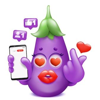 Postać z kreskówki emoji bakłażana z telefonu co znak k-pop.