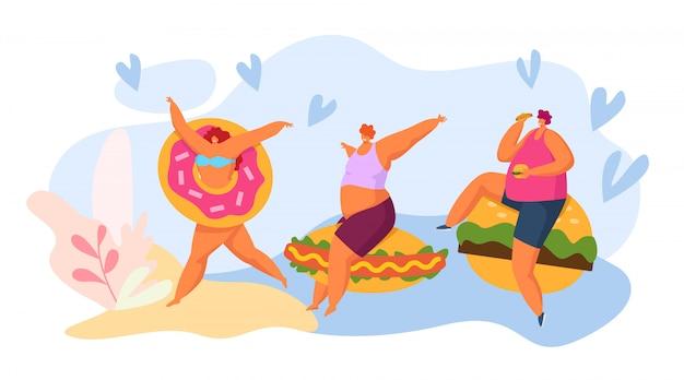 Postać z kreskówki fasta food i grubi ludzie, ilustracja. kobieta mężczyzna z ogromnym fastfood, burger, pączki i hot dog.