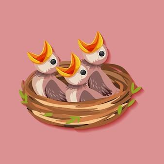 Postać z kreskówki głodne pisklęta