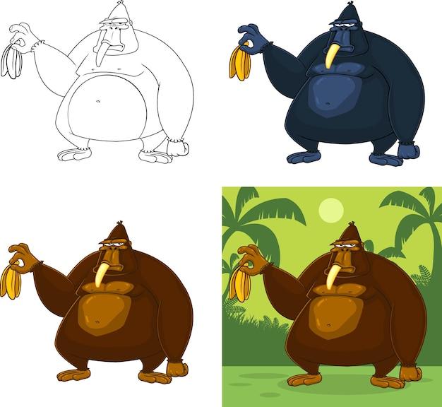 Postać z kreskówki goryl trzyma banana. kolekcja zestaw na białym tle
