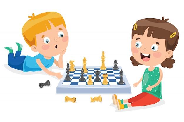 Postać z kreskówki gry w szachy