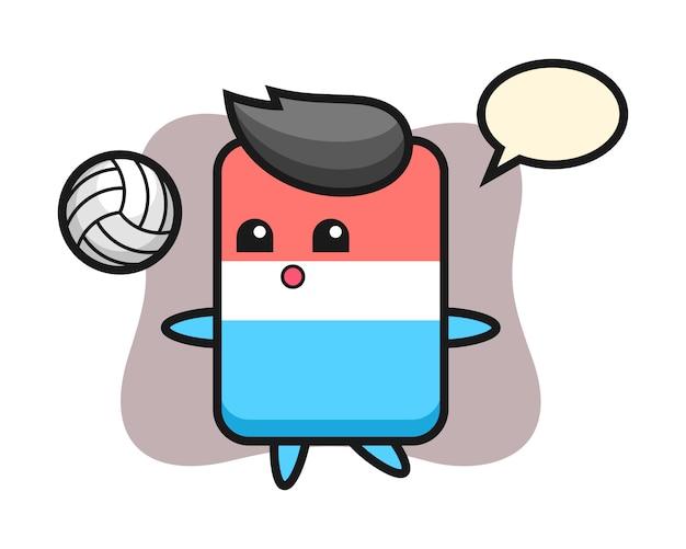 Postać z kreskówki gumki gra w siatkówkę, ładny styl