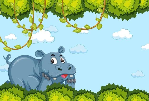 Postać z kreskówki hipopotama w pustej scenie leśnej