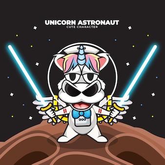 Postać z kreskówki jednorożca astronauta trzymającego miecze świetlne w przestrzeni
