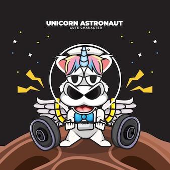 Postać z kreskówki jednorożca astronauty podnoszącego sztangę w przestrzeni