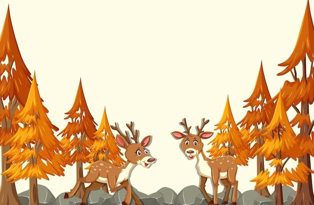 Postać z kreskówki jelenia w jesiennej scenie leśnej