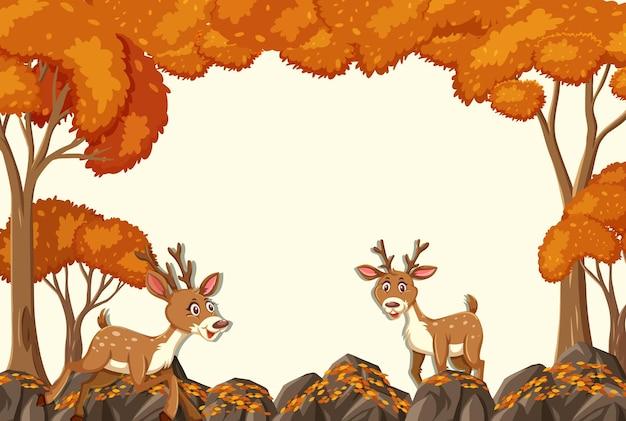 Postać z kreskówki jelenia w pustej jesiennej scenie leśnej