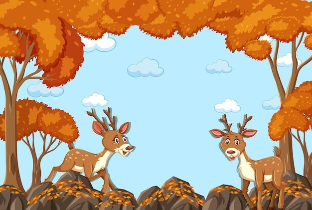 Postać z kreskówki jelenia z pustą jesienną sceną leśną