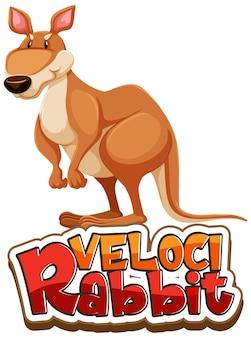 Postać z kreskówki kangura z izolowanym banerem czcionki velocirabbit