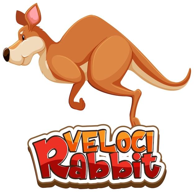 Postać z kreskówki kangura z odizolowaną czcionką velocirabbit