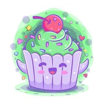 Postać z kreskówki kawaii ciastko