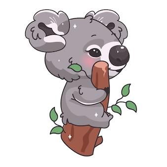 Postać z kreskówki kawaii ładny koala. urocze i zabawne zwierzę siedzące na gałęzi i jedzące liście eukaliptusa na białym tle naklejka, łatka. anime baby koala emoji na białym tle