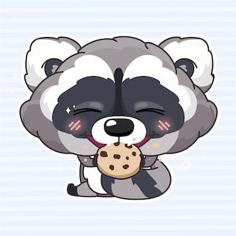 Postać z kreskówki kawaii ładny szop. urocze i zabawne zwierzę jedzące ciastka, ciasteczka na białym tle naklejki, łatka, ilustracja książki dla dzieci. anime baby szop degustacja słodyczy emoji na niebieskim tle