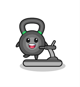 Postać z kreskówki kettlebell chodząca po bieżni, ładny styl na koszulkę, naklejkę, element logo