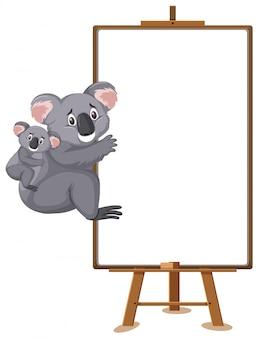 Postać z kreskówki koale i pusty transparent na białym tle