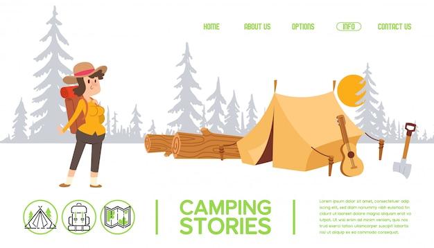 Postać z kreskówki kobieta na kempingu, namiot w lesie, ludzi na świeżym powietrzu