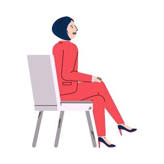 Postać z kreskówki kobieta słuchanie prezentacji, ilustracji wektorowych na białym tle.
