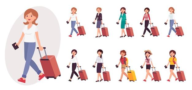 Postać z kreskówki kobieta turysta z kolekcji bagażu i paszportu