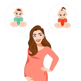 Postać z kreskówki kobiety w ciąży myśleć o, jeśli dziecko jest chłopiec lub dziewczynka ikona stylu płaski ilustracja