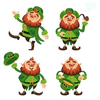 Postać z kreskówki krasnoludek na dzień świętego patryka w różnych pozach śmieszne odmiany emoji karzeł tradycyjny irlandzki folklor celtycka mitologia z kapeluszem i fajką