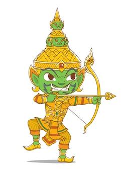Postać z kreskówki króla tossaka o gigantycznej postaci w tajlandzkiej epopei rammakian