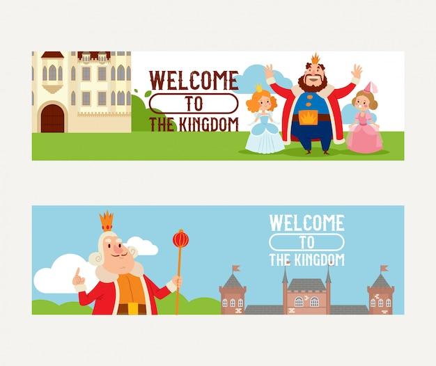 Postać z kreskówki królestwo króla księżniczka w zamku
