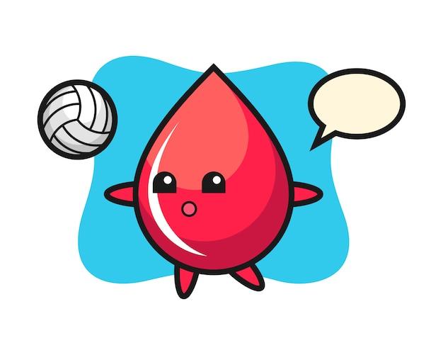 Postać z kreskówki kropli krwi gra w siatkówkę, ładny styl, naklejka, element logo