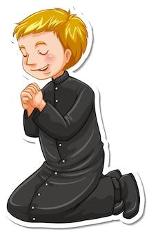 Postać z kreskówki księdza w modlącej się naklejce pozy