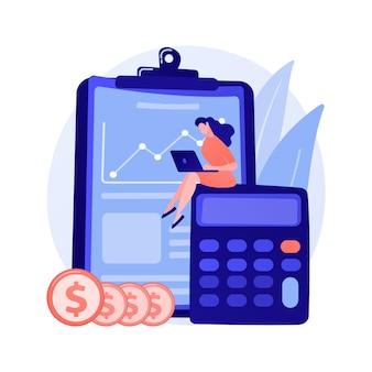 Postać z kreskówki księgowa kobieta. analiza sprawozdań, planowanie budżetu, prowadzenie ksiąg rachunkowych, audyt finansowy. kobieta pracuje nad statystykami dochodów.