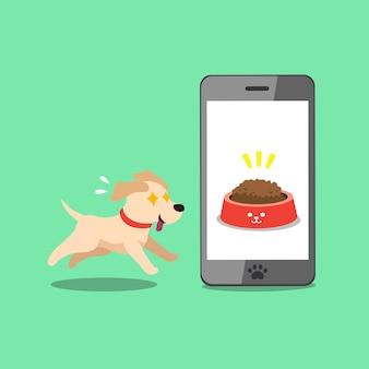 Postać z kreskówki labrador retriever pies i smartphone