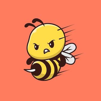 Postać z kreskówki ładny atak pszczół. dzika przyroda zwierząt na białym tle.
