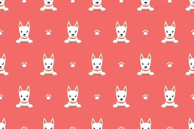 Postać z kreskówki ładny biały pies bezszwowe tło wzór