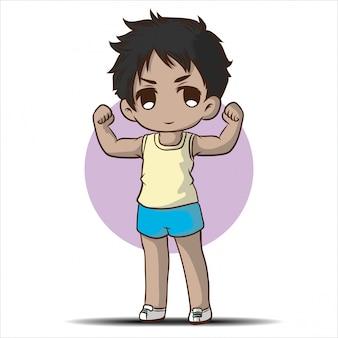 Postać z kreskówki ładny chłopiec biegać.