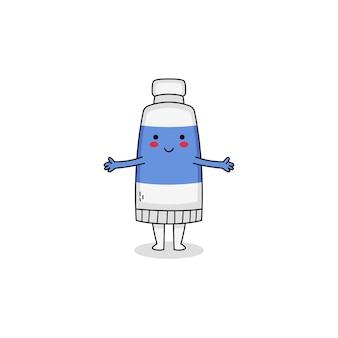 Postać z kreskówki ładny niebieski tubki z farbą