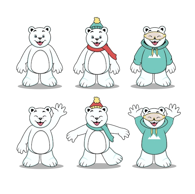 Postać z kreskówki ładny niedźwiedź polarny