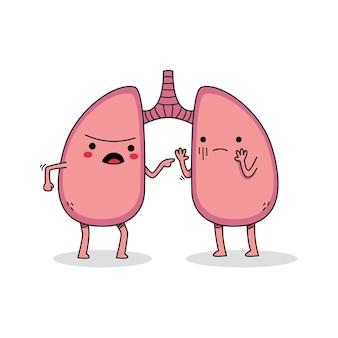 Postać z kreskówki ładny płuc kłócący się ze sobą