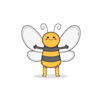 Postać z kreskówki ładny pszczoła