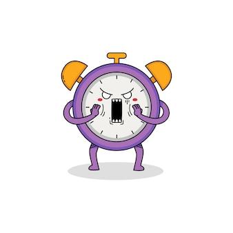 Postać z kreskówki ładny zegar zszokowany