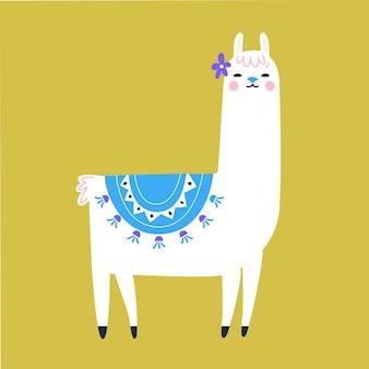 Postać z kreskówki lamy. tradycyjny frędzel i dekoracja kwiatowa. śliczna lama ilustracja.