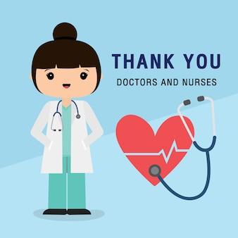 Postać z kreskówki lekarza. dziękuję lekarzom i pielęgniarkom pracującym w szpitalu i zwalczającym koronawirusa, covid-19 wuhan virus disease vector illustration.